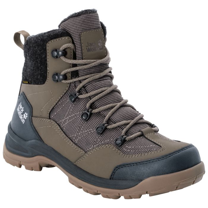 Buty Ocieplane Aspen Texapore Mid M Coconut Brown Black Bialy Jack Wolfskin