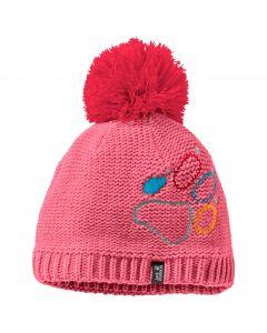 Czapka zimowa dziecięca PAW KNIT CAP KIDS coral pink