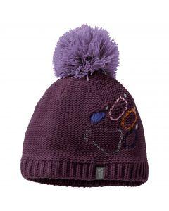 Czapka zimowa dziecięca PAW KNIT CAP KIDS aubergine
