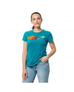 Damska koszulka z krótkim rękawem RAINBOW WOLF T W Dark Cyan