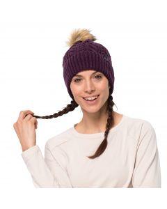 Czapka z pomponem damska NARITA POMPOM CAP WOMEN aubergine